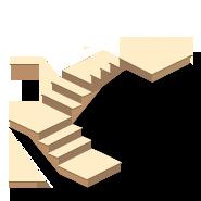 Расчет трехмаршевой лестницы на косоурах с поворотом на 180° и площадками