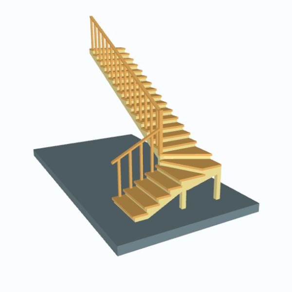 Новый калькулятор лестницы с забежными ступенями