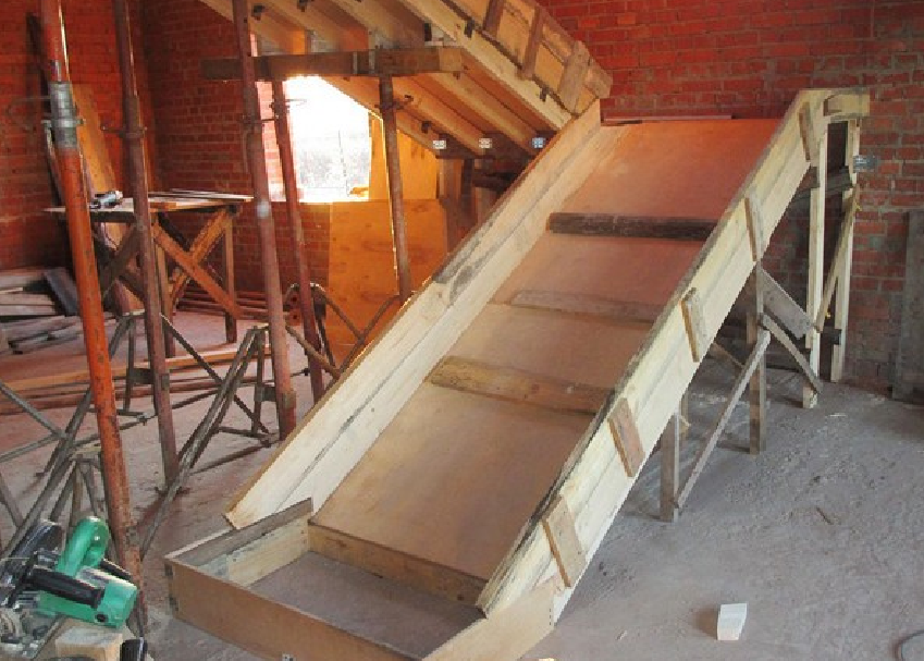 Formwork concrete stairs