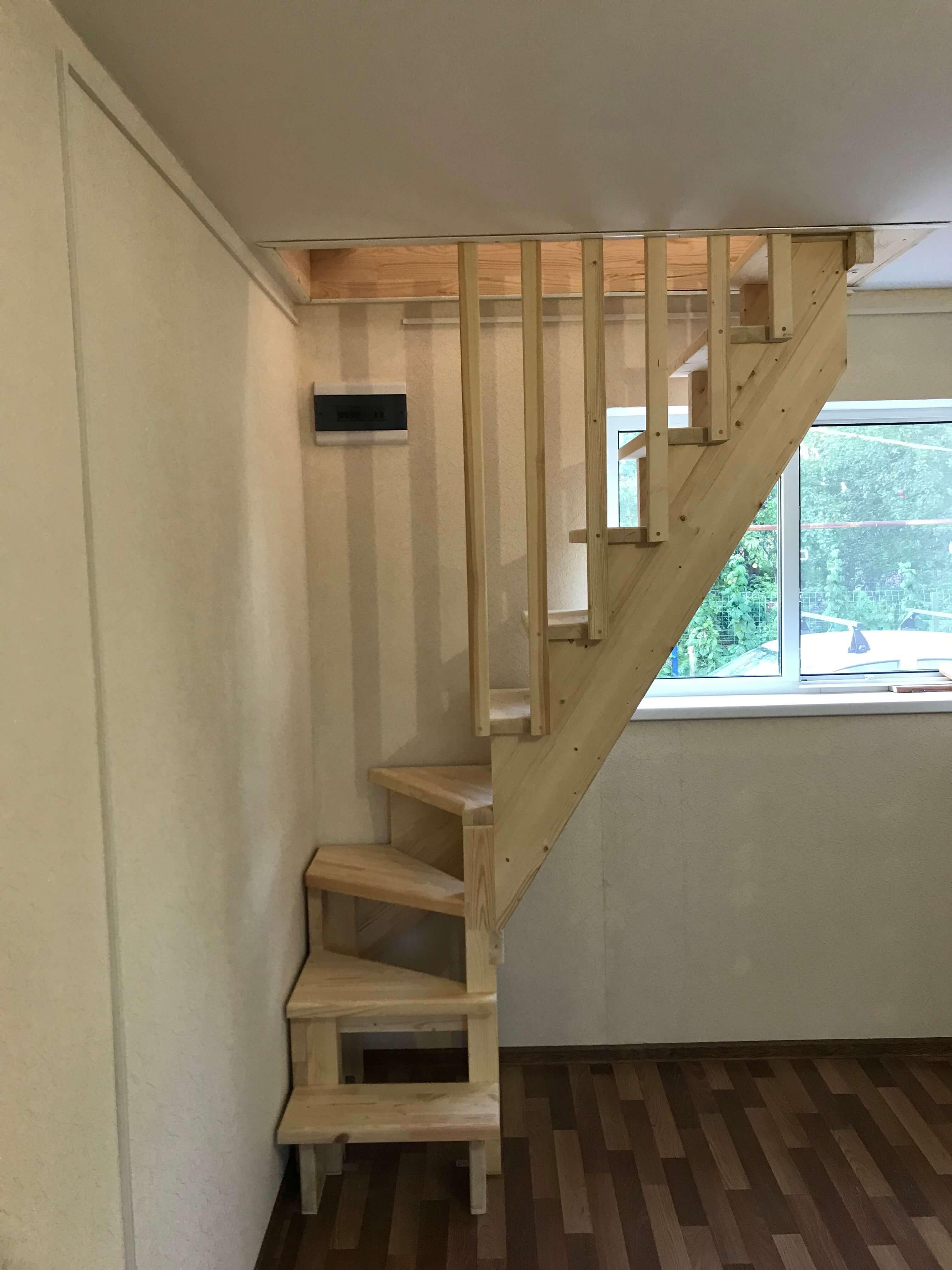 Narrow stairs for a country house