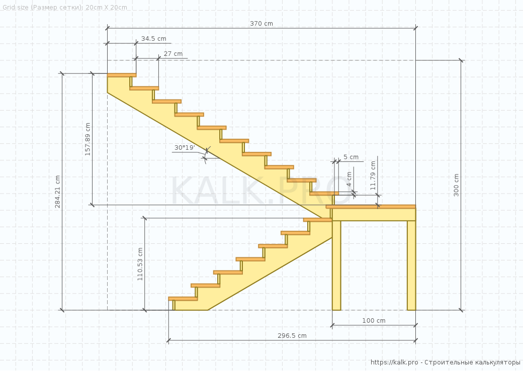 3d U Shaped Staircase Calculator Half Landing 180 Turn Switchback Stairs
