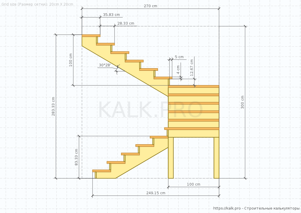 ladder Drawing (side view) — Construction calculators online