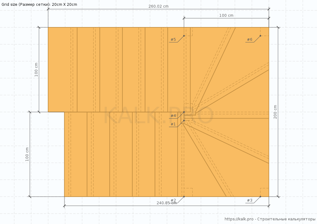 Stair Drawing (top view) — Construction calculators online