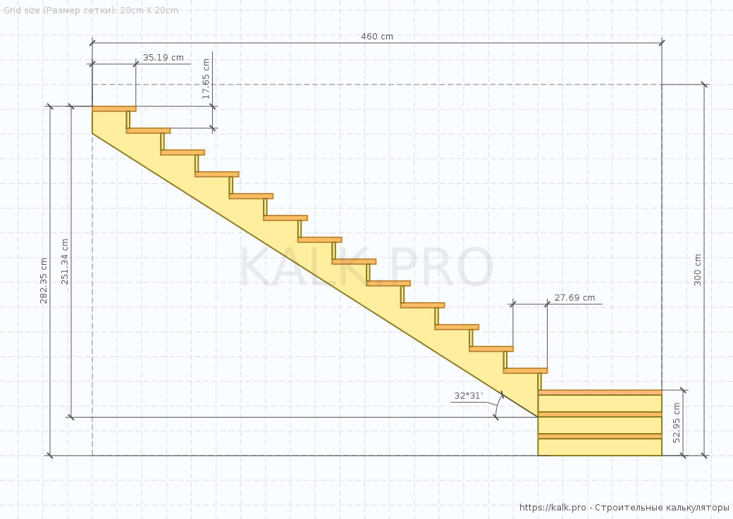 Stair Drawing (side view) — Construction calculators online