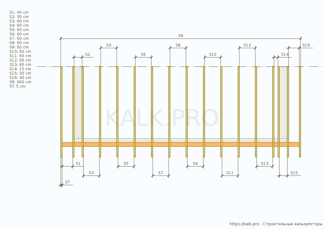 Drawing of the distances between the rafters of a shed roof — Construction calculators online
